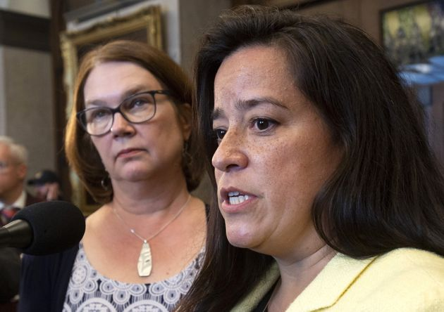 Independent Members of Parliament Jane Philpott and Jody Wilson-Raybould speak in the...