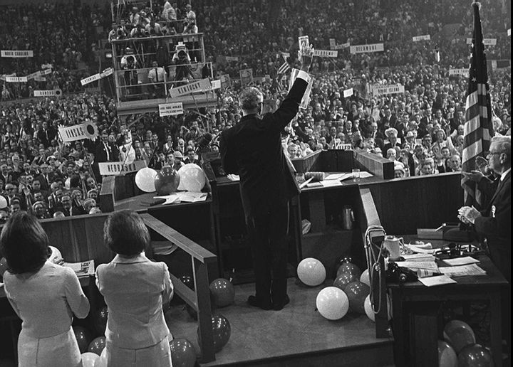 The nomination of Sen. Barry Goldwater, seen here waving to delegates at the 1964 GOP convention, presaged the conservative m