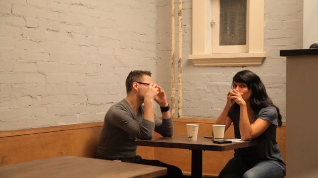 Filmmaker and advocate Attiya Khan, right, speaks to her violent former boyfriend in her documentary,...