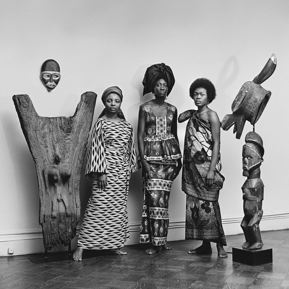"Grandassa Models at the Merton Simpson Gallery, New York, circa 1967. From ""Kwame Brathwaite: Black Is Beautiful"" (Aperture, 2019)."