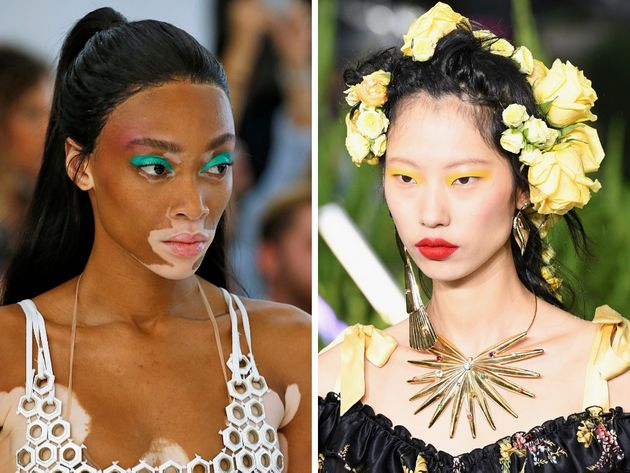 Left: Model Winnie Harlow walks the runway at the Byblos spring 2019 show. Right: A model walks the runway...