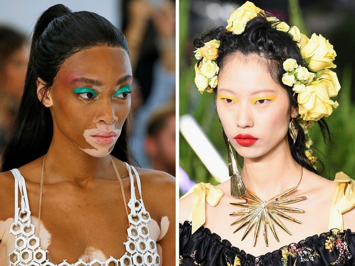 Left: Model Winnie Harlow walks the runway at the Byblos spring 2019 show. Right: A model walks the runway at the Rodarte spring 2019 show.