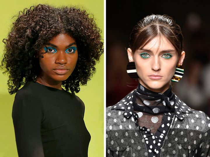 Left: A model at the Alice + Olivia spring 2019 presentation. Right: A model on the runway at the Cividini spring 2019 show.