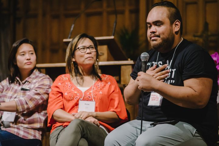 "Panelists speak at a workshop titled ""How to Navigate a Church That Doesn't Fit"" during the second Progressive Asian Ame"