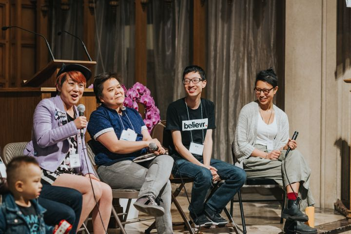 """People speak at a panel called """"LGBTQIA+ Stories"""" at the PAAC conference."""