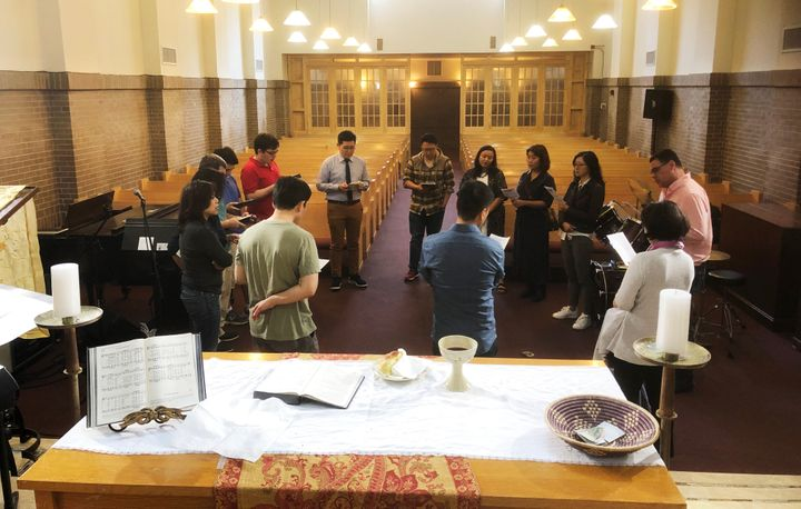 HA:N United Methodist Church, a progressive Asian American congregation, meets in New York City on May 19, 2019. People are s