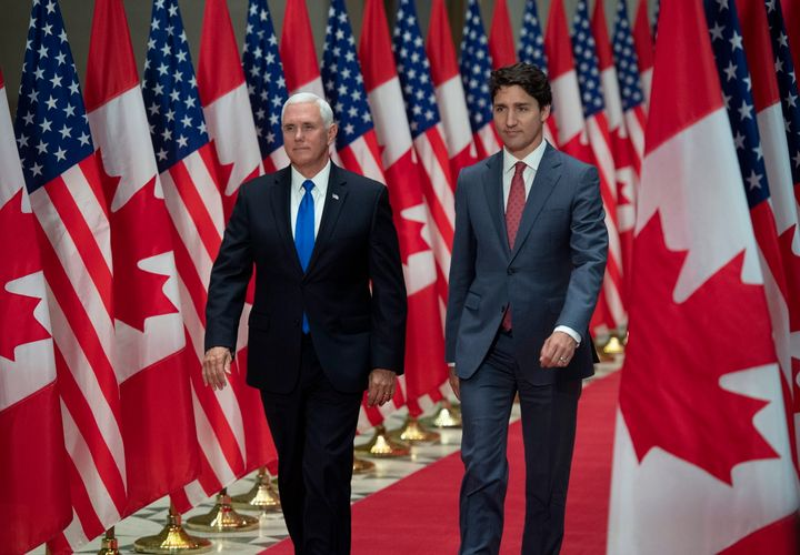 Prime Minister Justin Trudeau and U.S. Vice-President Mike Pence arrive for a joint news conference in Ottawa on May 30, 2019.