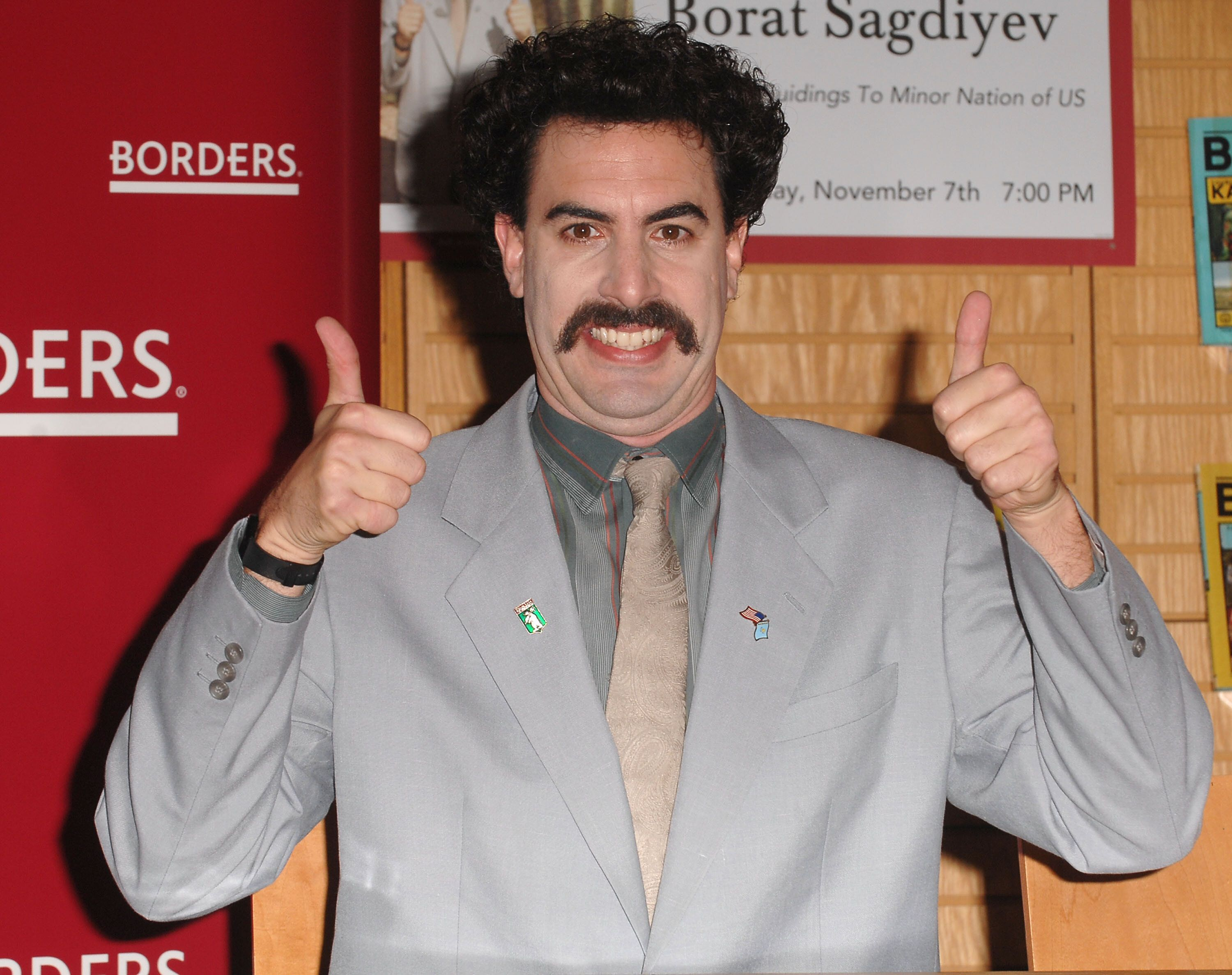 WESTWOOD, CA - NOVEMBER 07:  Sacha Baron Cohen aka Borat attends his book signing at Borders Book Store on November 7, 2007 in Westwood, California.  (Photo by Steve Granitz/WireImage)