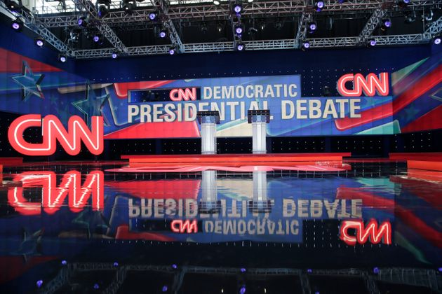 The stage for the CNN Democratic presidential primary debate between Sen. Bernie Sanders (I-Vt.) and...