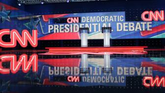 The stage for the CNN Democratic Presidential Primary Debate between Sen. Bernie Sanders, I-Vt, and Hillary Clinton, is shown during a preview at the Brooklyn Navy Yard, Thursday, April 14, 2016, in New York. (AP Photo/Peter Morgan)