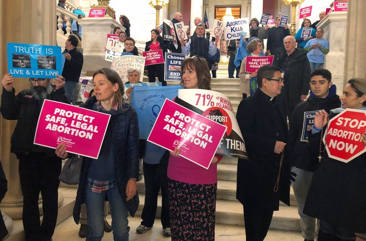 Protests at the Rhode Island General Assembly over abortion rights legislation.