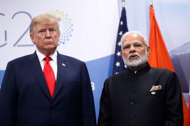 US President Donald Trump and Prime Minister Narendra Modi in a file