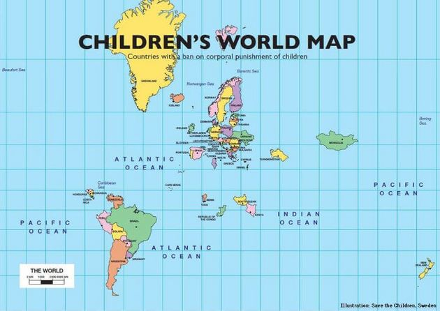 Save the children Swedenが制作したMap Of The 53 Countries That Ban The Corporal Punishment Of Children.(June...