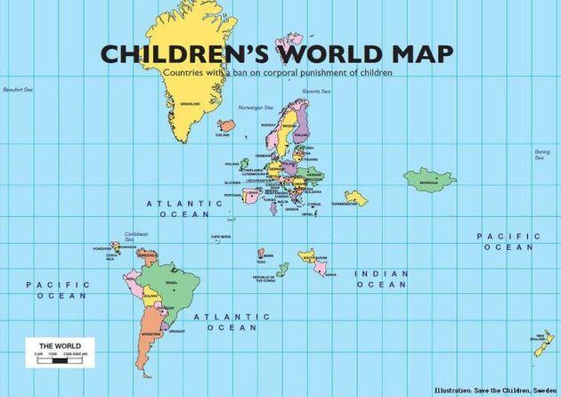 Save the children Swedenが制作したMap Of The 53 Countries That Ban The Corporal Punishment Of Children.(June 11, 2018)。地図には反映されていないが、現在ではネパールが追加された事で、54か国が法的に体罰を禁止している。