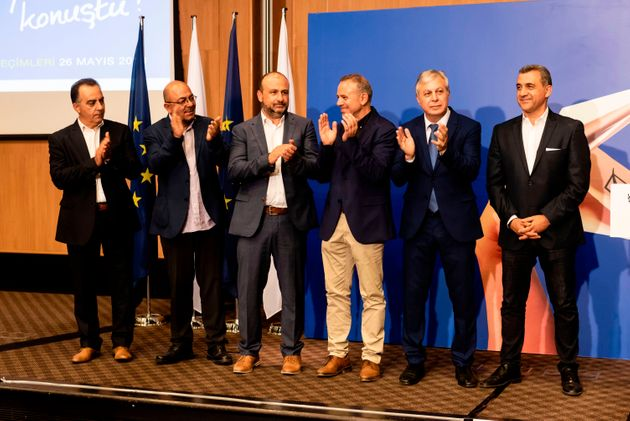 The winners from the cyprus elections for the European parliament (From Left to right) Georgios Georgiou...