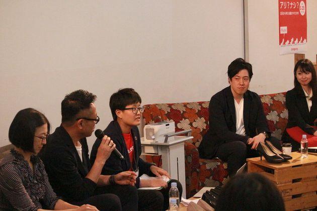 (左から)内藤さん、井上さん、Change.orgの遠藤まめたさん、西島さん、石川さん
