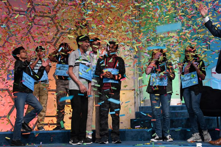 The co-champions of the 2019 Scripps National Spelling Bee, from left, Sohum Sukhatankar, 13, of Dallas, Texas, Abhijay Kodal