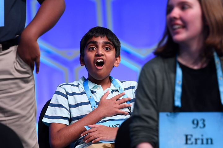 Abhijay Kodali, 12, of Flower Mound, Texas, reacts after learning that he is one of eight co-champions of the 2019 Scripps Na