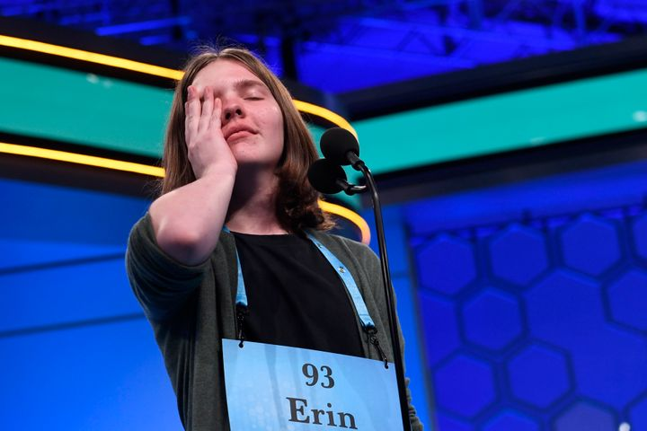 Erin Howard, 14, of Huntsville, Alabama, reacts as she prepares to spell her final word as she competes in the finals.
