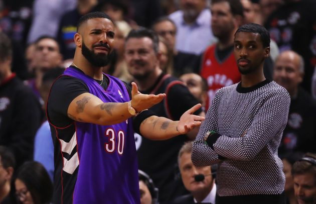 Drake is seen here on May 30, 2019, during Game 1 of the NBA Finals at Scotiabank Arena in