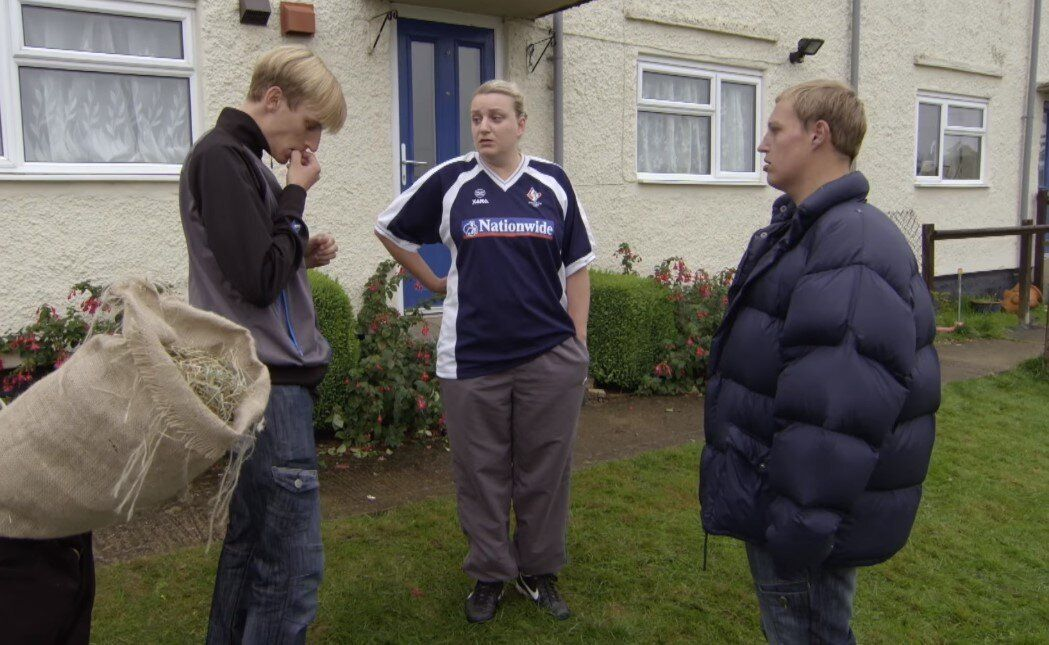 Michael Sleggs (R) as Slugs in BBC Three comedy series 'This Country'