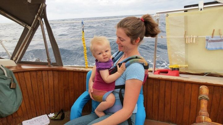 With my 10-month-old daughter sailing across the Sea of Cortez. November 2013.