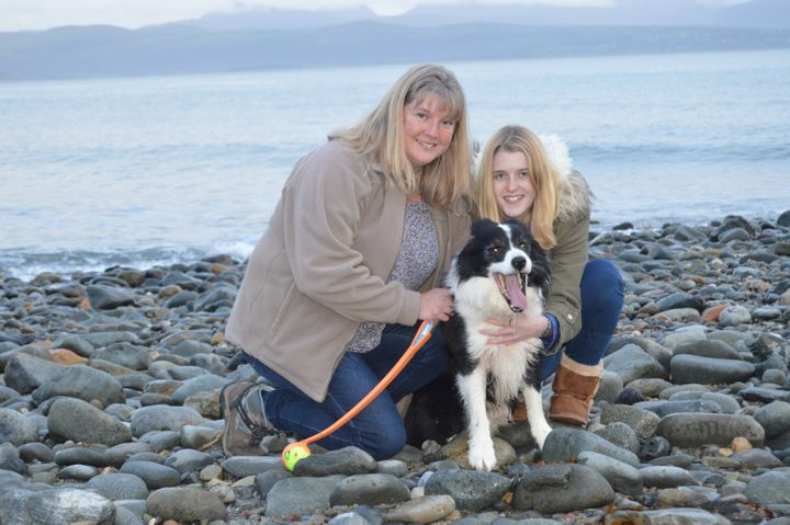 Mandy Francis with her daughter Katie and their dog Badger.