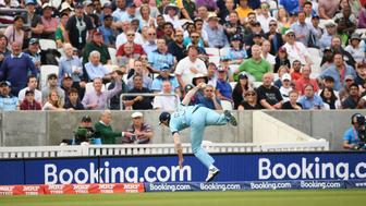 LONDON, ENGLAND - MAY 30:  Ben Stokes of England takes a catch during the Group Stage match of the ICC Cricket World Cup 2019 between England and South Africa at The Oval on May 30, 2019 in London, England. (Photo by Stu Forster-IDI/IDI via Getty Images)