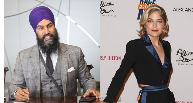 NDP Leader Jagmeet Singh, left, defended actress Selma Blair on social