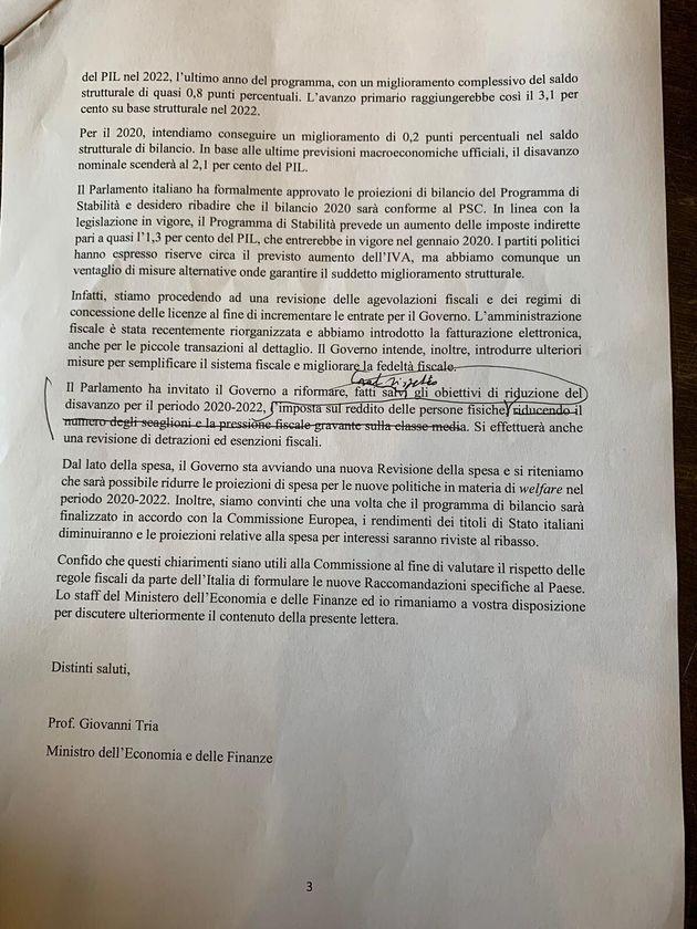 Lettera Ue, ecco la bozza della