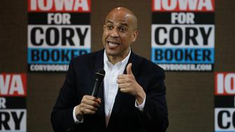 2020 Democratic presidential candidate Cory Booker speaks during a town hall meeting in Carroll, Iowa, U.S., April 16, 2019.  REUTERS/Elijah Nouvelage