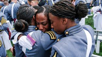 African American women of the United States Military Academy celebrate at the conclusion of commencement ceremonies in West Point, New York, U.S., May 25, 2019. REUTERS/Eduardo Munoz     TPX IMAGES OF THE DAY