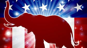 An elephant in silhouette with trunk in the air and an American flag in the background republican political mascot