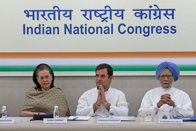 (Left to Right) Congress MP Sonia Gandhi, party president Rahul Gandhi and former Prime Minister Manmohan...