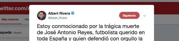 Tuit de Albert Rivera sobre la muerte de