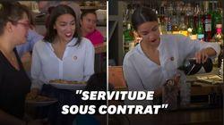 Alexandria Ocasio-Cortez repasse derrière le bar pour réclamer la hausse du salaire des