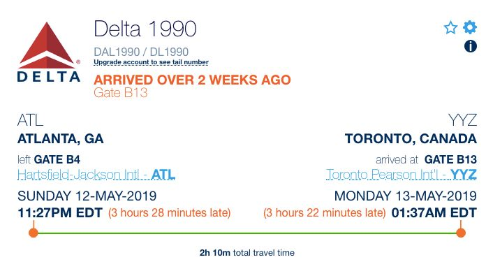 The record of Delta Flight 1990, which was more than three hours behind.