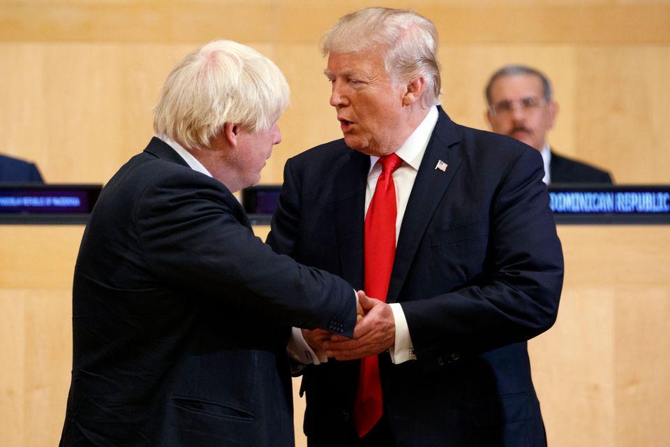 Boris Johnson e Donald Trump na ONU em