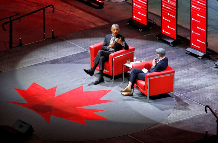 Former U.S. president Barack Obama speaks at the Canadian Tire Centre at an event hosted by Ottawa-based think tank Canada 2020 on May 31, 2019.