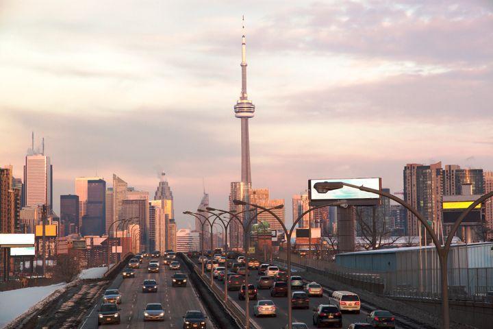 Traffic on Toronto's Gardiner Expressway.
