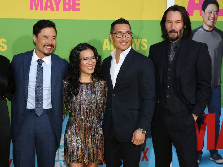 "Randall Park, Ali Wong, Daniel Dae Kim and Keanu Reeves at the premiere of ""Always Be My Maybe"" in Los Angeles."