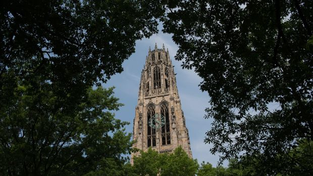 Harkness Tower stands on the Yale University campus in New Haven, Connecticut, U.S., on Friday, June 12, 2015. Yale University is an educational institute that offers undergraduate degree programs in art, law, engineering, medicine, and nursing as well as graduate level programs. Photographer: Craig Warga/Bloomberg via Getty Images