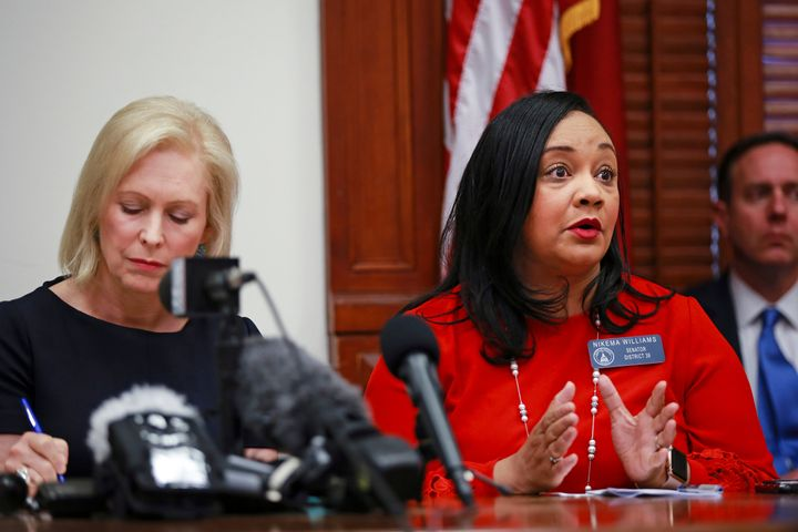 Presidential candidate and New York Sen. Kristin Gillibrand (left) joins Georgia state Sen. Nikema Williams in Atlanta after