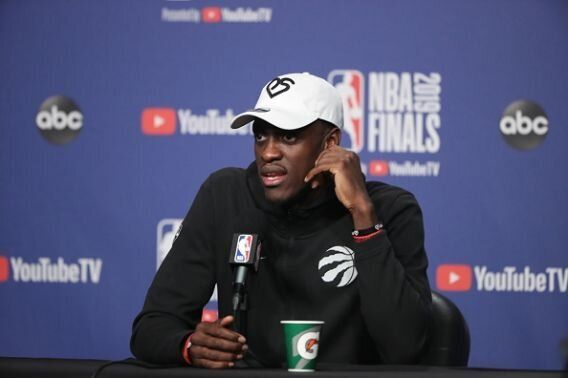 Pascal Siakam of the Toronto Raptors addresses the media on May 31, 2019 at Scotiabank
