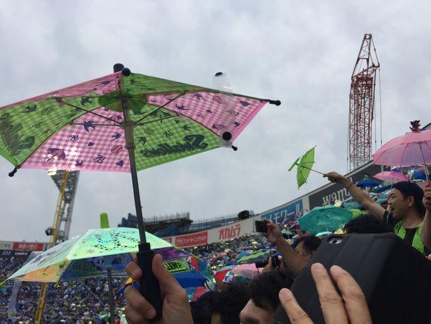 横浜スタジアムに勝利の傘が