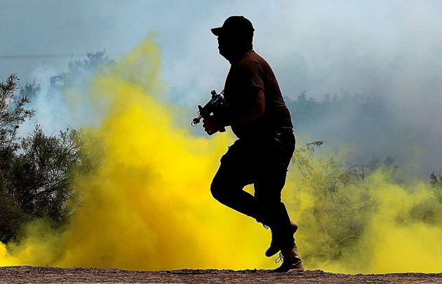 Un soldat irakien lors d'un entraînement près de Bagdad en avril