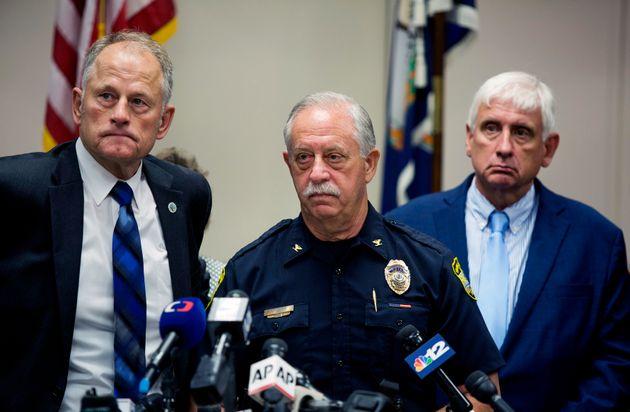 Virginia Beach City Manager Dave Hansen, left, Virginia Beach Chief of Police James Cervera, center,...