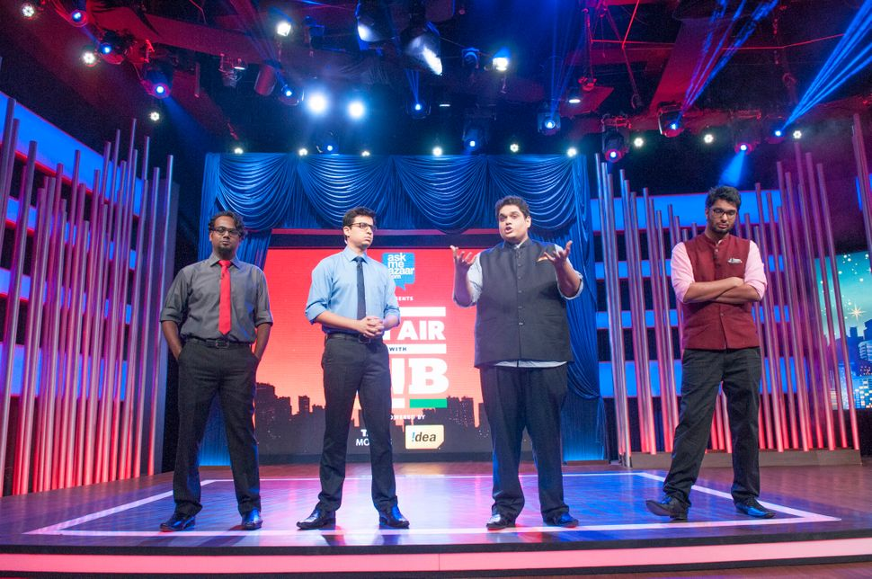 Ashish Shakya, Rohan Joshi, Tanmay Bhat and Gursimran Khamba at the taping of Hotstar's On Air With AIB.