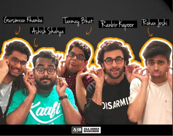 The AIB team with Ranbir Kapoor with who they did a podcast in July 2017.