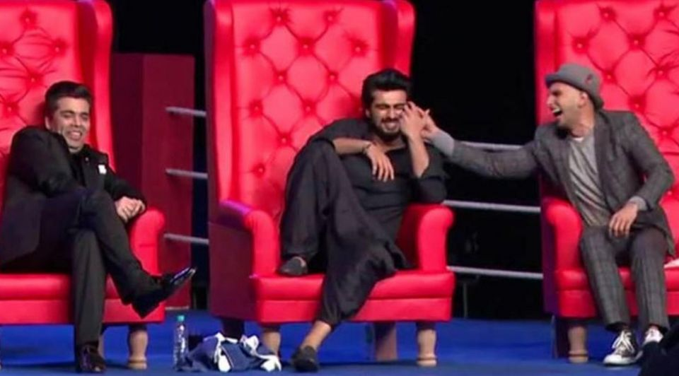 Karan Johar, Arjun Kapoor and Ranveer Singh at the AIB Roast held in December